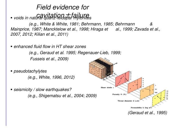 Field evidence for cavitation±failure