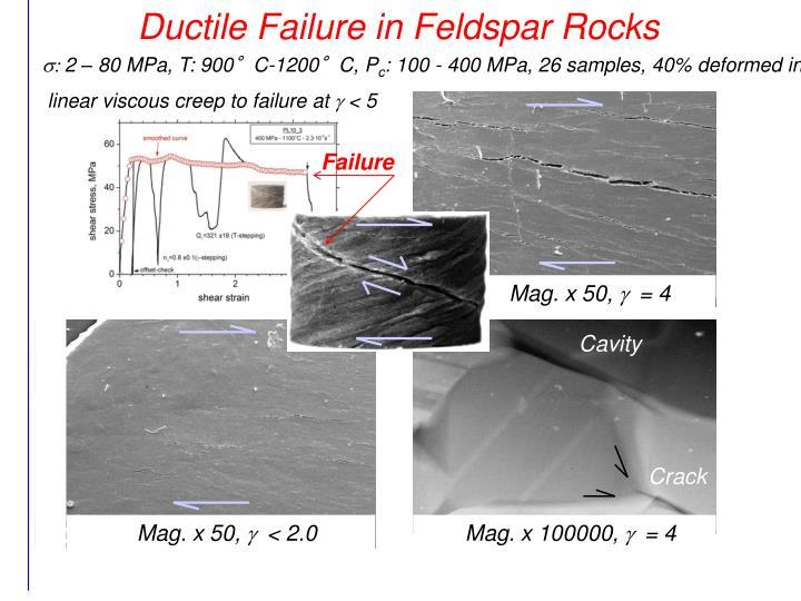 Ductile Failure in Feldspar Rocks