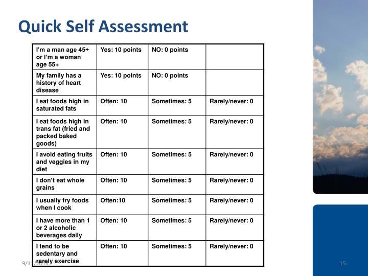 Quick Self Assessment