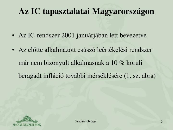 Az IC tapasztalatai Magyarországon