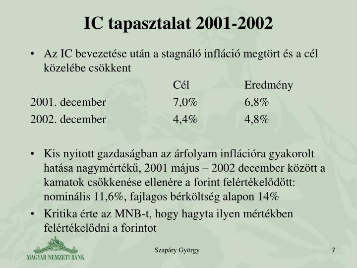 IC tapasztalat 2001-2002