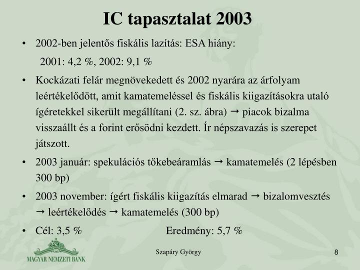 IC tapasztalat 2003