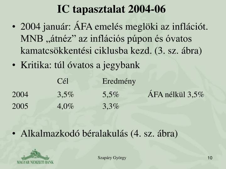 IC tapasztalat 2004-06