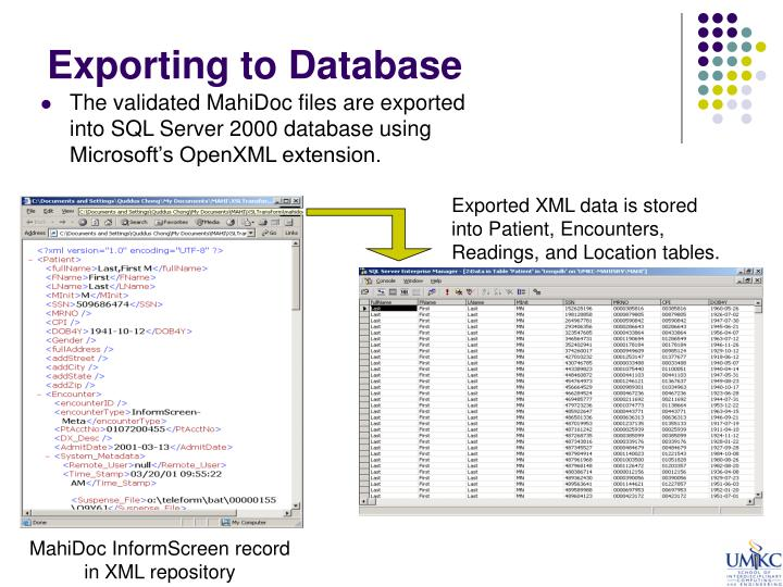 Exporting to Database