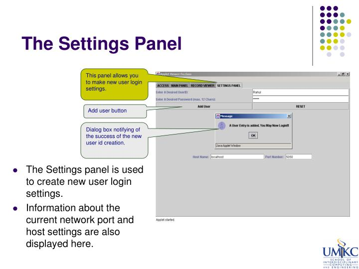 The Settings Panel