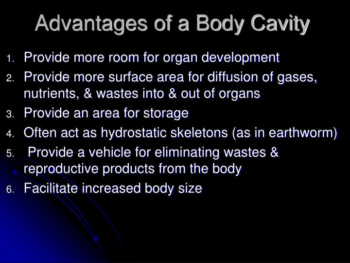 Advantages of a Body Cavity