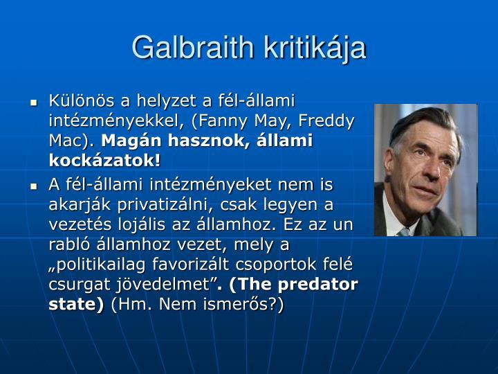 Galbraith kritikája