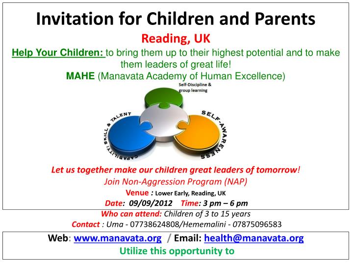 Invitation for Children and Parents