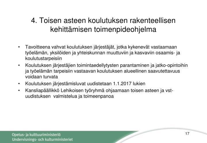 4. Toisen asteen koulutuksen rakenteellisen kehittämisen toimenpideohjelma
