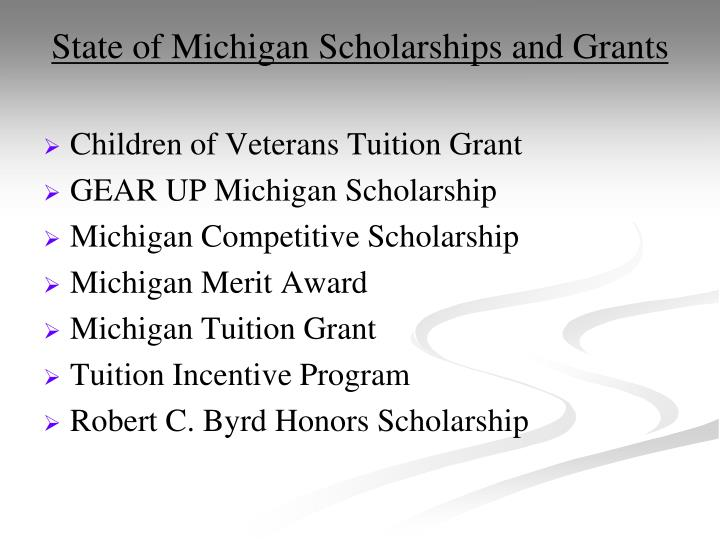 State of Michigan Scholarships and Grants
