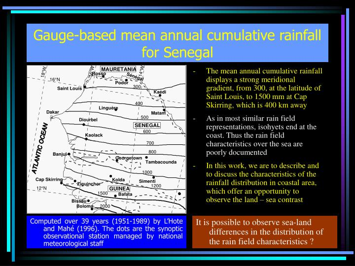 Gauge based mean annual cumulative rainfall for senegal