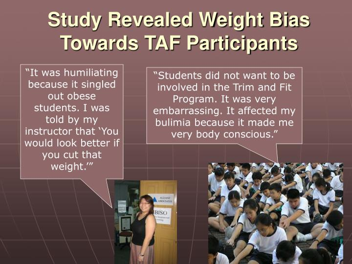 Study Revealed Weight Bias Towards TAF Participants