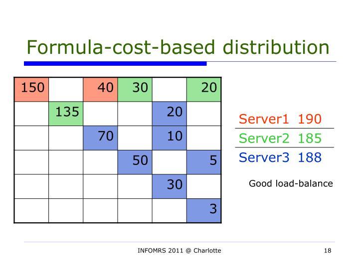Formula-cost-based distribution