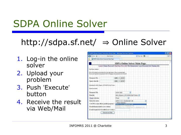 SDPA Online Solver
