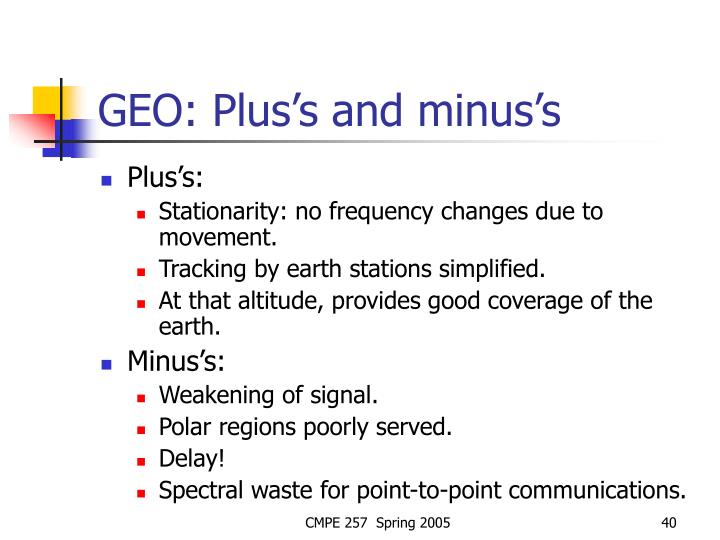 GEO: Plus's and minus's