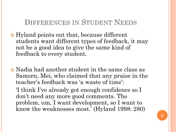 Differences in Student Needs