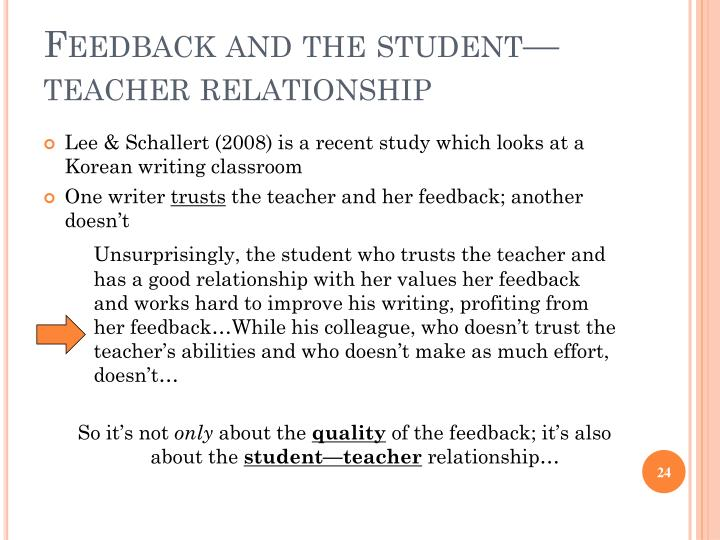 Feedback and the student—teacher relationship