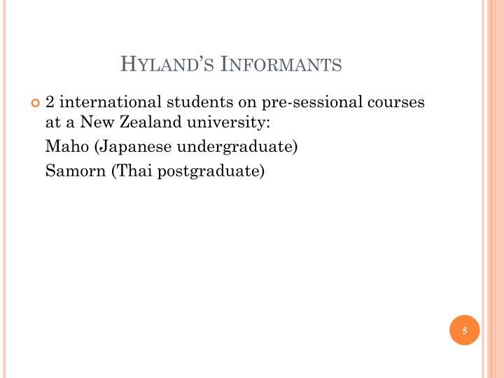 Hyland's Informants