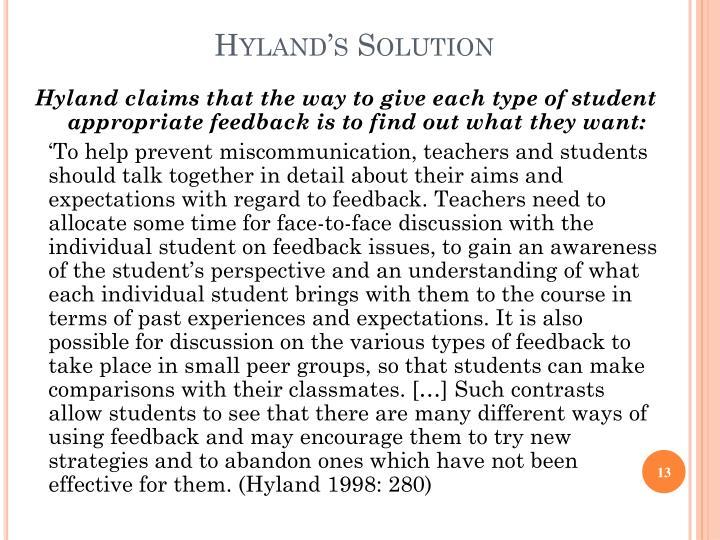 Hyland's Solution