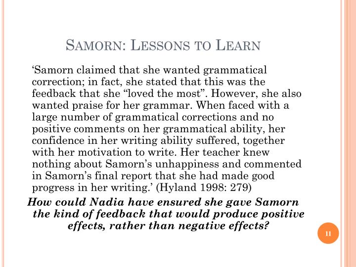 Samorn: Lessons to Learn
