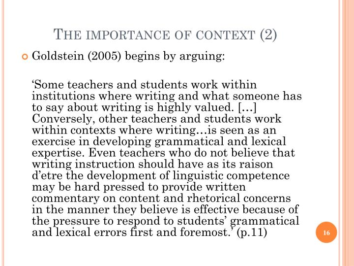 The importance of context (2)