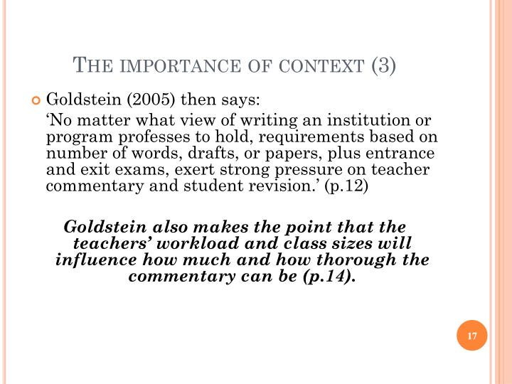 The importance of context (3)