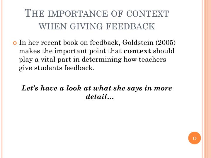 The importance of context when giving feedback