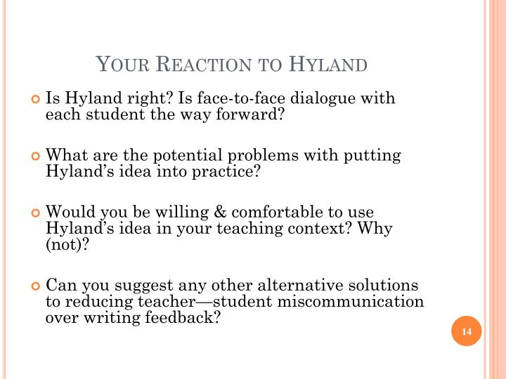 Your Reaction to Hyland