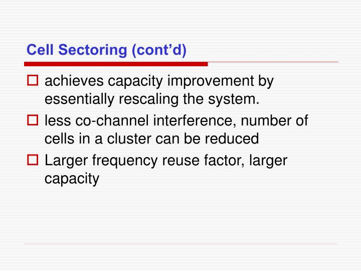 Cell Sectoring (cont'd)