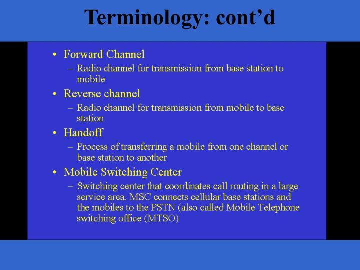 Terminology: cont'd