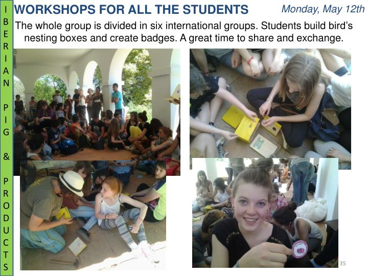 WORKSHOPS FOR ALL THE STUDENTS