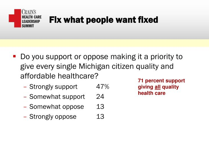Fix what people want fixed