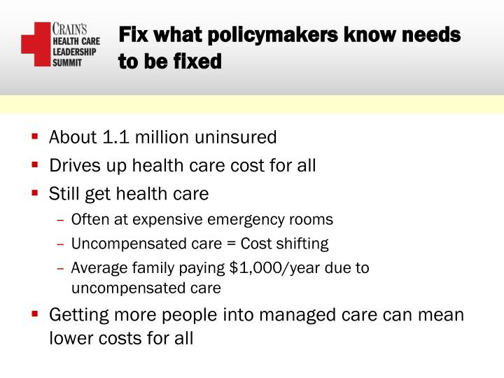 Fix what policymakers know needs to be fixed