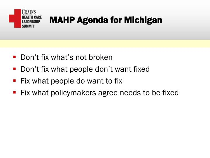 MAHP Agenda for Michigan