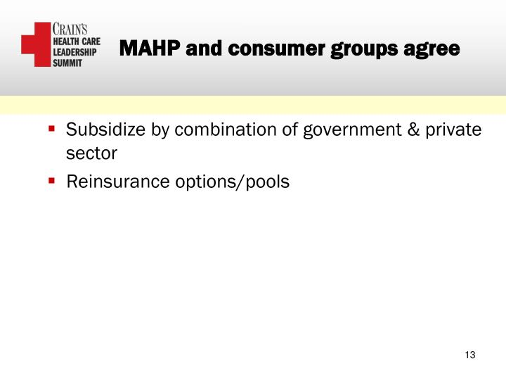 MAHP and consumer groups agree
