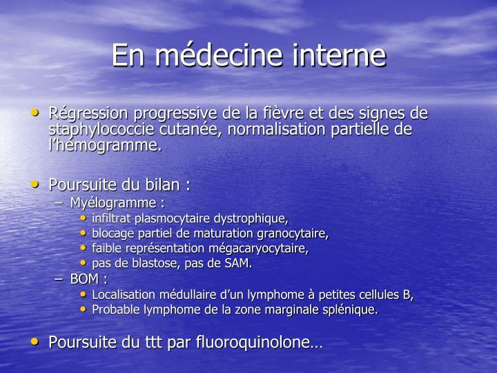 En médecine interne