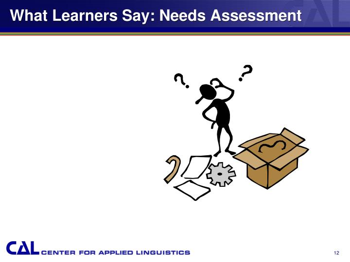 What Learners Say: Needs Assessment