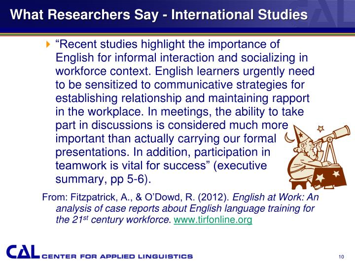 What Researchers Say - International Studies