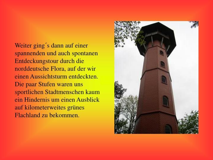 Weiter ging´s dann auf einer spannenden und auch spontanen Entdeckungstour durch die norddeutsche Flora, auf der wir einen Aussichtsturm entdeckten. Die paar Stufen waren uns sportlichen Stadtmenschen kaum ein Hindernis um einen Ausblick auf kilometerweites grünes Flachland zu bekommen.
