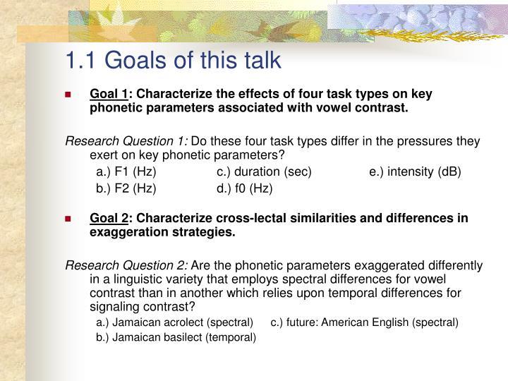 1.1 Goals of this talk