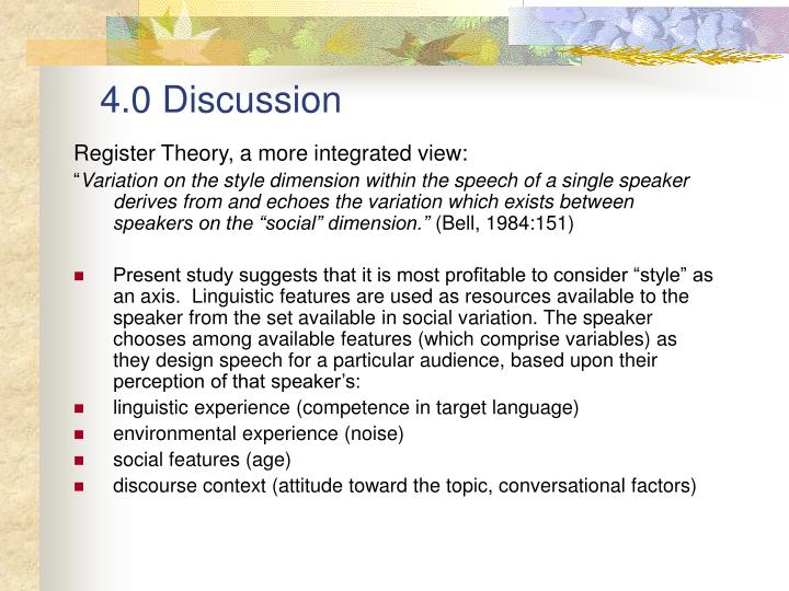 4.0 Discussion