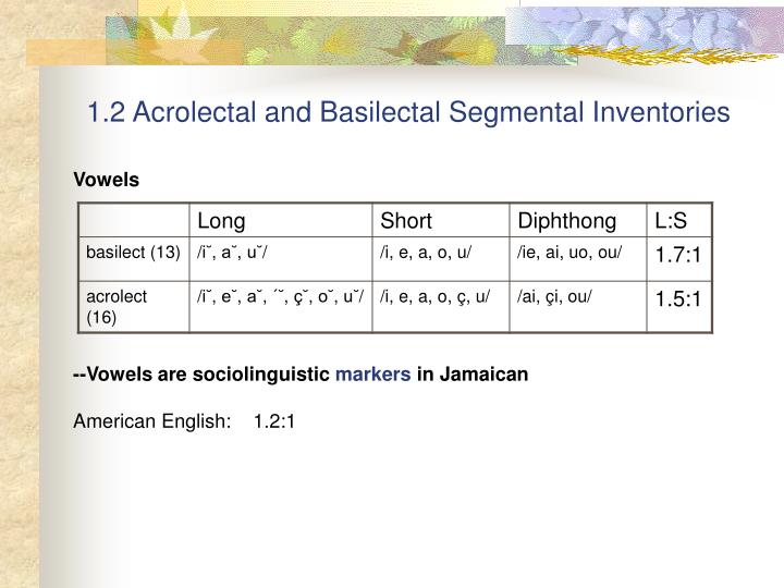 1.2 Acrolectal and Basilectal Segmental Inventories