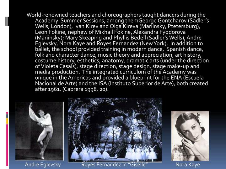 World-renowned teachers and choreographers taught dancers during the Academy  Summer Sessions, among