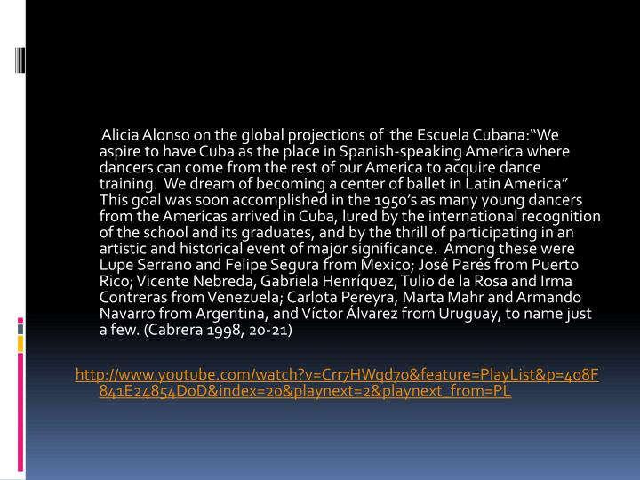 Alicia Alonso on the global projections of  the