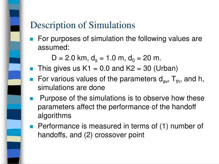 Description of Simulations