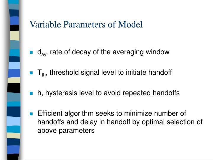 Variable Parameters of Model