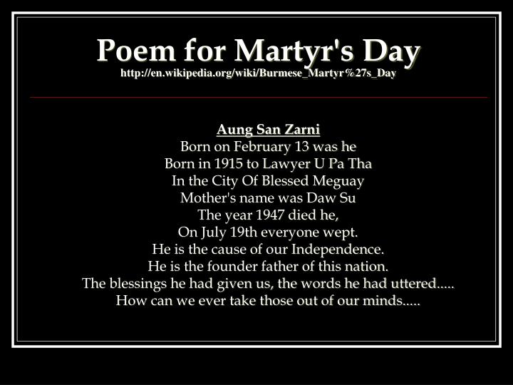 Poem for Martyr's Day