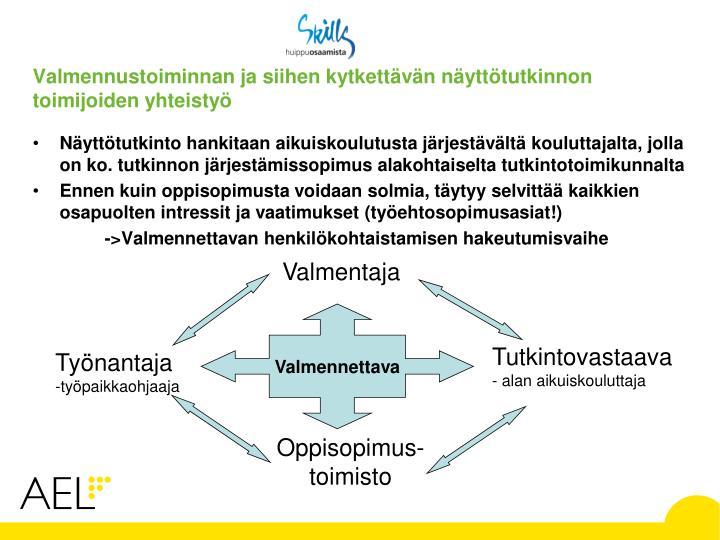 Valmennustoiminnan ja siihen kytkettävän näyttötutkinnon toimijoiden yhteistyö