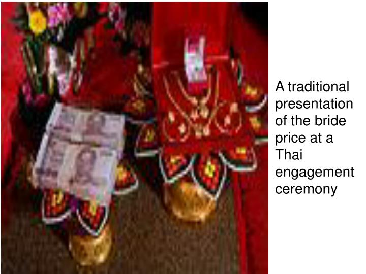 A traditional presentation of the bride price at a Thai engagement ceremony