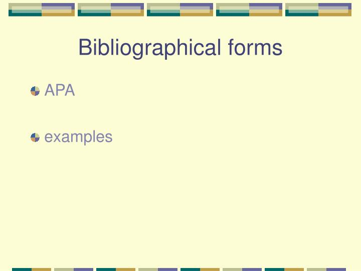 Bibliographical forms